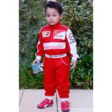 Fantasia Infantil Macacão Ferrari F1 Com Nome Grátis