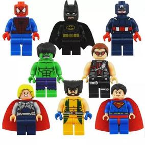 Kit 8 Bonecos Lego Super Heróis Brinquedo Marvel Criança Kid