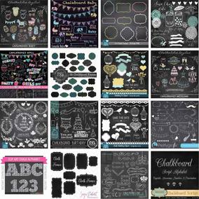 30 Kit Chalkboard Scrapbook Digital - Lousa Giz Quadro Negro