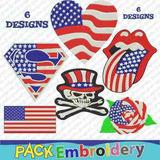 Simbolos Usa Set 6 Banderas Calaveras Bordadoras Patrones