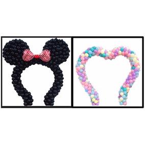 Suporte De Bexigas Arco Minnie, Mickey E Coração, (3 Em 1)
