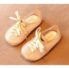 Sandalias Doradas Plásticas Para Niña Talla 25