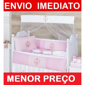 Kit Berço Coroa Imperial - 8 Peças Completo - Menina Rosa