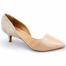 Sapato Feminino Scarpin Aberto Em Nobuck E Couro Lux - Lindo