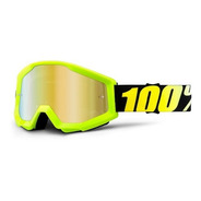 Antiparras 100% Espejadas Strata Neon Amarillo Motocross Atv