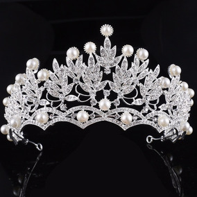 Coroa Tiara Perolas Cristal Acessório Cabelo Noivas Pratead2