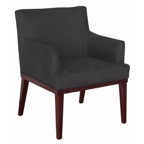 Cadeira Poltrona Decorativa Vitoria Corino Preto Promoção