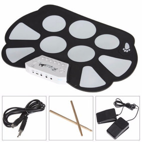 Bateria Eletrônica Roll Up Drum Kit Silicone 9 Pad + Pedais