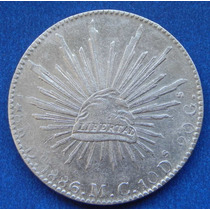 Moneda 8 Reales Durango 1886 M C Escasa Plata