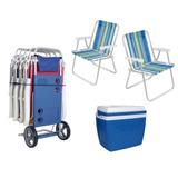 Kit Praia Completo Carrinho Cadeira Caixa Termica
