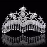 Coroa Tiara Noiva 15 Anos Banhado Prata Nupcial 18cm