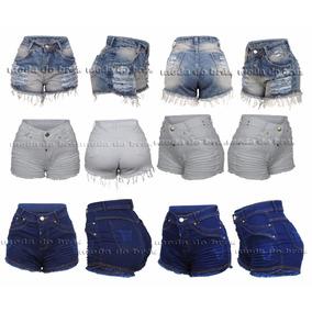 Shorts Feminino Atacado Jeans Kit C/ 3 Cintura Cós Alto!