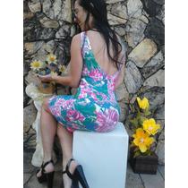 Vestido Florido Tubinho Bandagem Estampa Floral Costas Nuas