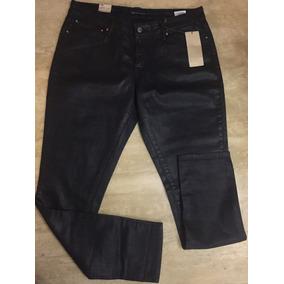 Jeans Tipo Cuero Negro Strech Talla 32 Demi Curve Levis