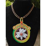 Collar Medallon Grande Elegante Pedreria