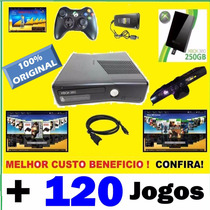 Xbox 360 + Kinect + Controle Sem Fio + Hd 250gb + 120 Jogos