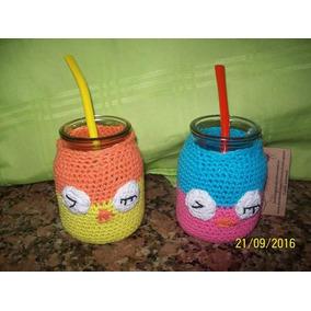 Mates Artesanales. Vidrio Con Funda Tejida Crochet Lechuzas