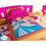 Juego De Sábanas - Sábana Princesas Fucsia - Disney