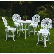 Conjunto Mesa Redonda E 4 Cadeiras Colonial Plastico Branca