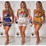 Macaquinho Feminino Estampado Floral Cropped + Short