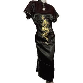Kimono Largo Dragon Xl Xxl Vestido Chino Fiesta