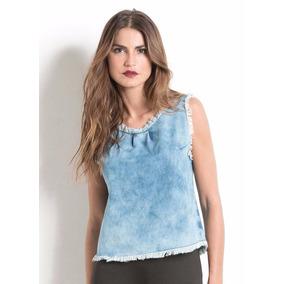 Blusa Jeans Plus Size Com Barra Desfiada