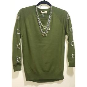 Sweater Verde Militar Mangas Bordadas Con Piedra