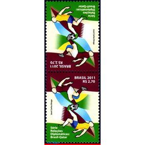 C-3166 2011 Relação Diplomatica Qatar Catar Tête-bêche Roxo
