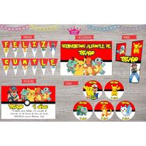 Kit Impreso Cumpleaños Pokemon Pikachu Invitaciones Deco