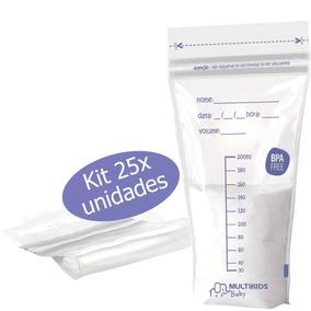 Kit 25 Frasco Sacos Recipiente Para Armazenar Leite Materno