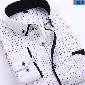 2018 Hombres Moda Casual Manga Larga Impresa Camisa Slim Fit