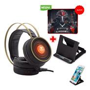 Audifonos Diadema Gamer Gt7vd + Pad Mouse + Soporte Celular
