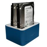 Docking Station Para 2 Discos 3.5 O 2.5 Azul Usb 2.0 Y 3.0