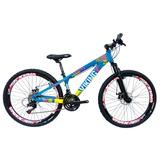 Bicicleta Vikingx Freeride Aro 26 Freio Disco Bike Azul