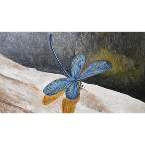 Cuadro Pintura Obra Arte Naturaleza Libelula Acrilico