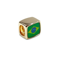 Berloque Gold - Bandeira Brasil - Pulseira Vivara Pandora