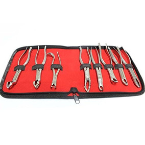 Bdeals 8 Pc Set Of Dental Extracting Forceps With Velvet Pou