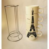 Set De Tazas Con Figura De Torre Eiffel 5 Oz.