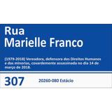 Placa De Rua Marielle Franco Rio De Janeiro Brasil 35x20cm