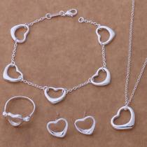 Set Collar Aretes Anillo Pulsera Mujer Joyería Fina Corazón