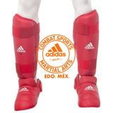 Espinillera Con Empeinera Para Karate adidas Wkf Rojo