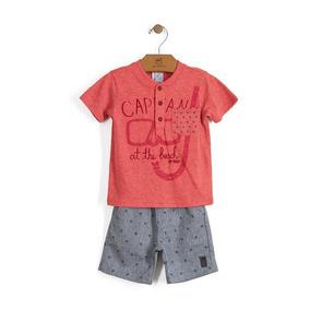 Conjunto Up Baby Marinheiro Camiseta E Bermuda Em Algodão