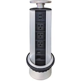 Vertical Tabletop Power Data Center - 3 Power, 2cat6 + 2 Usb