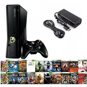 Xbox 360 Slim Controle Sem Fio Wi Fi Live 4gb + 5 Jogos