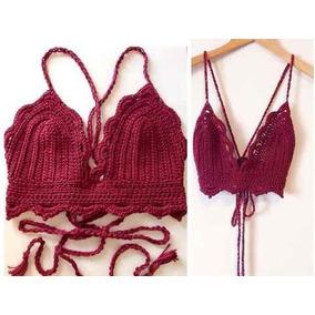 Bralette Crop Top Bikini Tejido A Crochet