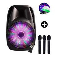 Parlante 15  Noga Bluetooth Karaoke + 3 Mics Wireless Luces