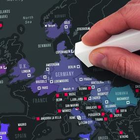 Raspa Mapa Mapamundi Capitales Scratch Map Black Edition