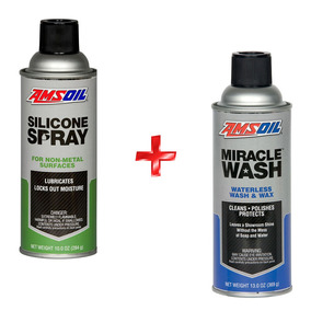 Kit Lavado En Seco 13oz + Silicon Spray 10oz Motor Amsoil