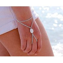 Anel Pulseira Hand Chain Panja Indiana Boho Com Pedra