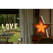 Estrellas De Madera Con Luces